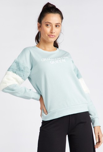 Printed Sweatshirt with Long Sleeves and Fur Embellishments