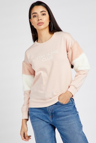 Printed Round Neck Sweatshirt with Long Sleeves and Fur Embellishments