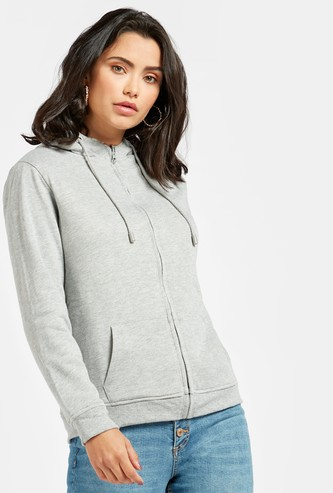 Solid Reversible Hoodie with Long Sleeves and Pockets