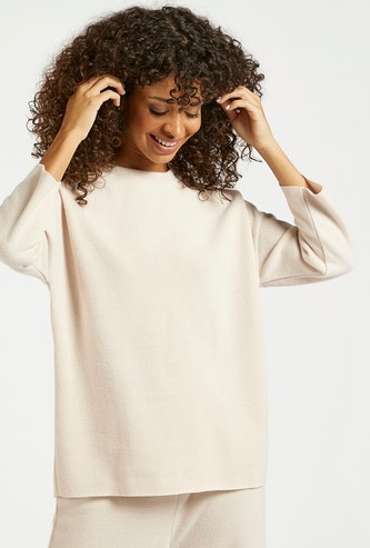 Textured Round Neck Cozy Top with Long Sleeves