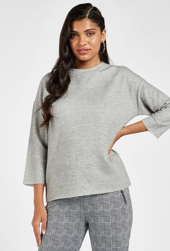 Solid Cozy Top with Crew Neck and 3/4 Sleeves