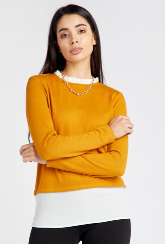 Solid Twofer Top with Round Neck and Long Sleeves