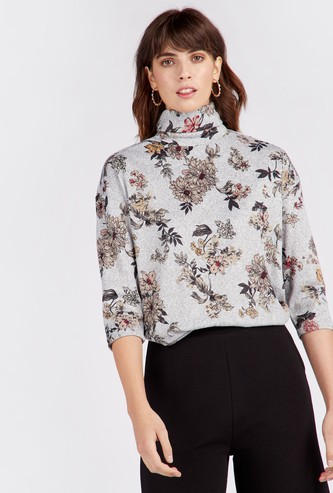 Floral Print Turtle Neck Cozy Top with 3/4 Sleeves