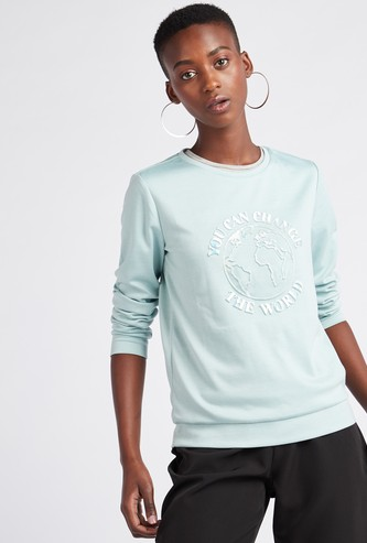 Embossed Round Neck Sweatshirt with Long Sleeves