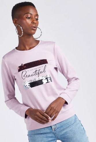 Typographic Print Round Neck Sweatshirt with Embellished Detail