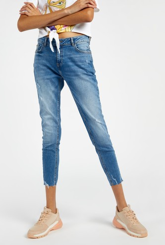 Ripped Mid-Rise Full Length Jeans with Pockets and Button Closure