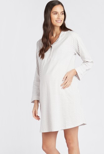 Striped Maternity Sleepshirt with Long Sleeves