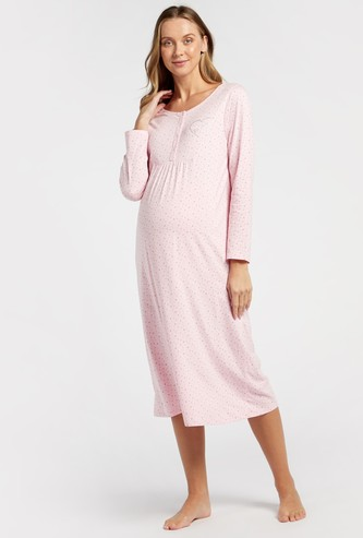 Printed Round Neck Maternity Sleepshirt with Long Sleeves