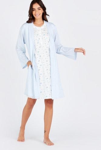 Printed Round Neck Maternity Sleepshirt and Robe Set