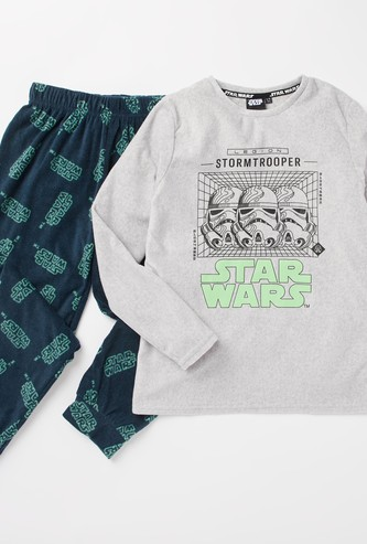 Star Wars Print Long Sleeves T-shirt and Pyjama Set