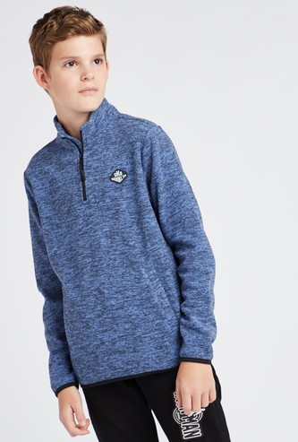Melange Print High Neck Fleece Jacket with Long Sleeves and Zip Closure