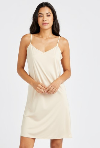 Solid Shaping Sleeveless Slip Dress with V-neck