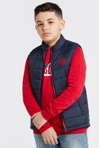 Solid Puffer Jacket with Logo Print and Front Zip Closure