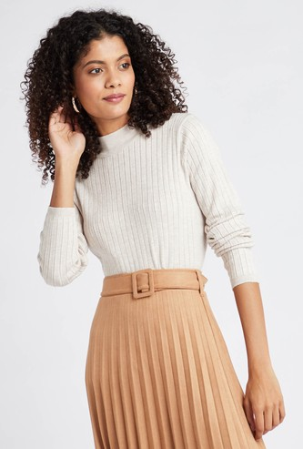 Ribbed High Neck Jumper with Long Sleeves