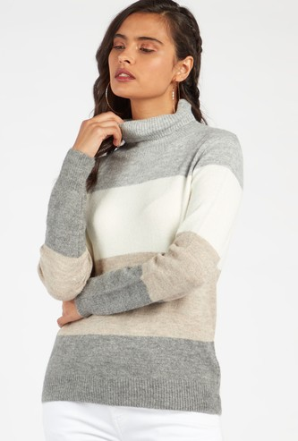 Colour Block High Neck Sweater with Long Sleeves