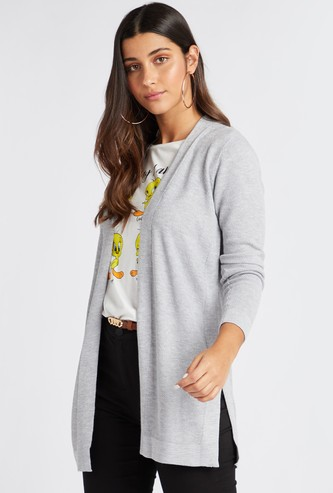 Textured Cardigan with Long Sleeves and Slit Detail