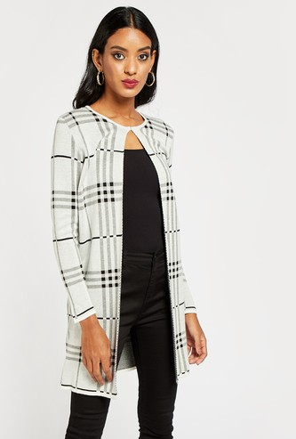 Chequered Front Open Cardigan with Long Sleeves