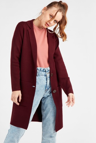 Textured Cardigan with Notch Collar and Long Sleeves