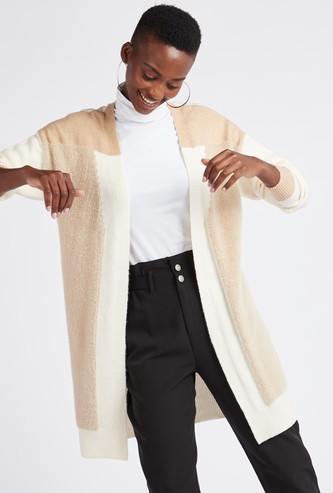 Textured Regular Fit Colourblock Cardigan with Long Sleeves