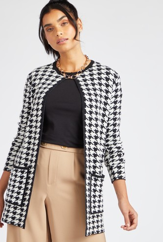 Houndstooth Round Neck Cardigan with Long Sleeves