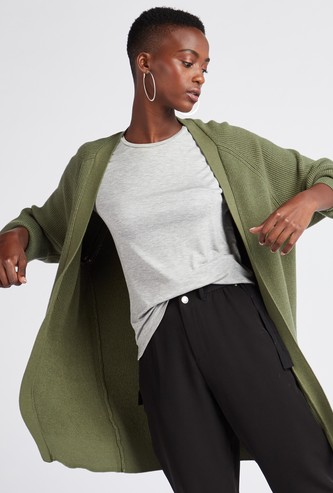 Textured Regular Fit Thigh Length Cardigan with Long Sleeves