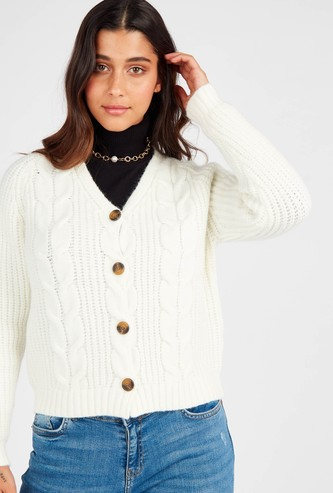 Knitted V-neck Cardigan with Long Sleeves and Button Front Closure
