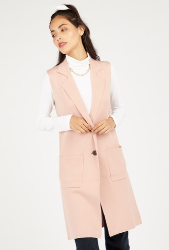 Knee Length Sleeveless Cardigan with Pockets and Button Closure