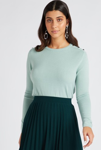 Solid Jumper with Round Neck and Shoulder Buttons