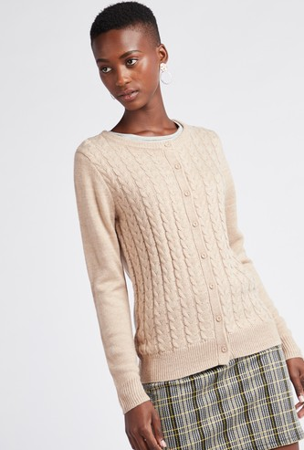 Textured Round Neck Cardigan with Long Sleeves