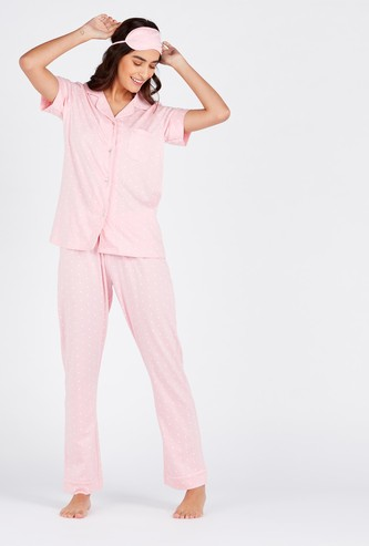 Gift Pack - Printed Collared Shirt with Full Pyjama and Eye Mask