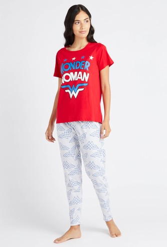Wonder Woman Print Round Neck T-shirt and Pyjama Set