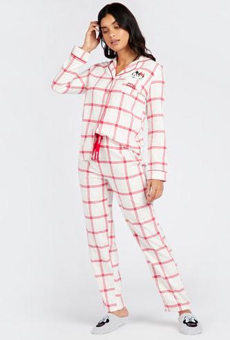 Checked Long Sleeves Shirt and Full Length Pyjama Set