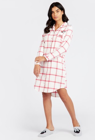Checked Sleepshirt with Collared Neck and Long Sleeves