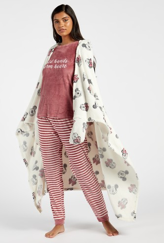 Printed Blankie with Hooded Neck and Hand Coverings