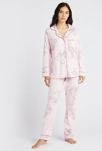 Princess Print Sleep Shirt and Full Length Pyjama Set