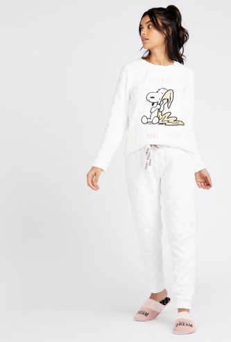 Snoopy Print Long Sleeves T-shirt and Full Length Pyjama Set