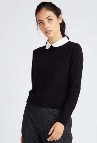 Solid Jumper with Mock Collar