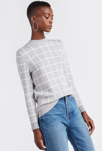 Checked Round Neck Sweater with Long Sleeves
