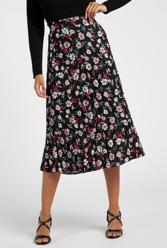 Printed A-line Midi Skirt with Pleats and Elasticated Waistband