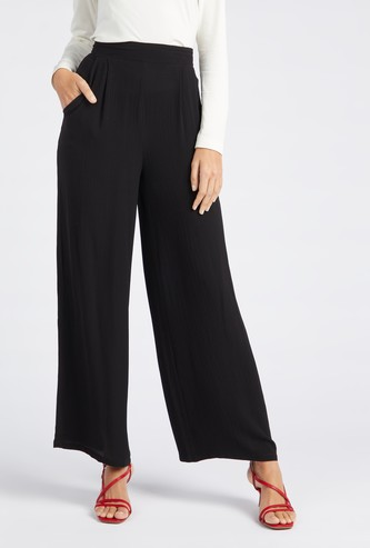 Full Length Solid Palazzo Pants with Pockets and Elasticised Waistband