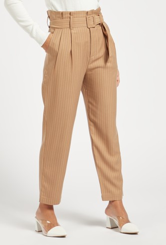 Striped Pants with Paperbag Waist and Belt Detail