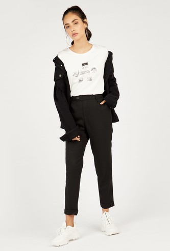Solid Ankle-Length Pants with Pockets and Button Closure