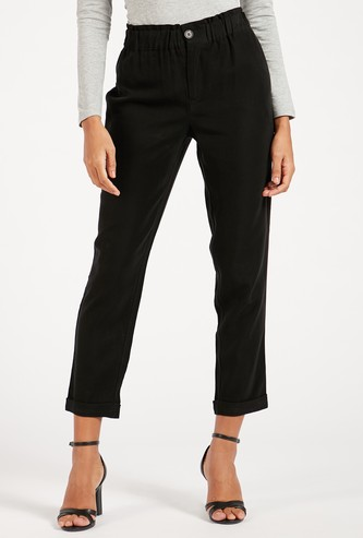 Straight Fit Solid Mid-Rise Pants with Pockets and Paperbag Waist