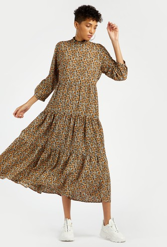 Printed High Neck Midi Tiered Dress with 3/4 Sleeves