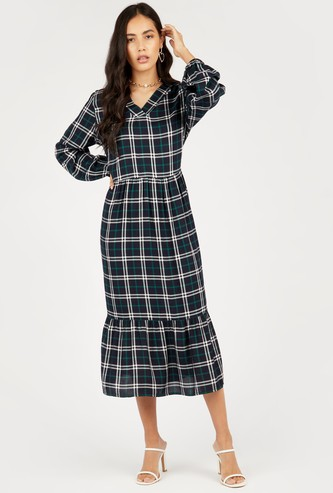 Checked V-neck Midi Dress with Long Sleeves