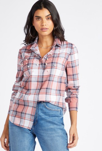 Embellished Checked Shirt with Spread Collar and Long Sleeves