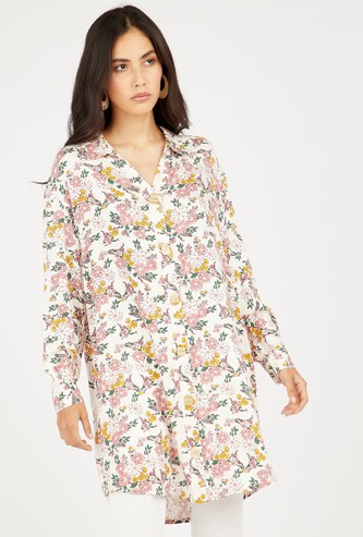 Floral Print Tunic with Long Sleeves and Spread Collar