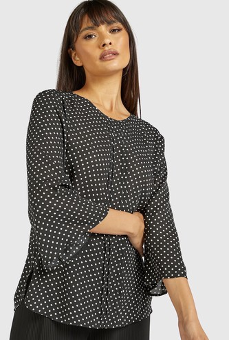 Polka Dots Print Shell Top with Pintuck Detail and 3/4 Sleeves