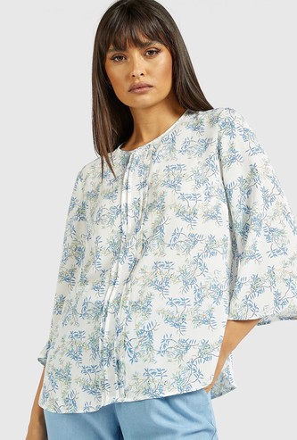 Printed Shell Top with Pintuck Detail and 3/4 Sleeves