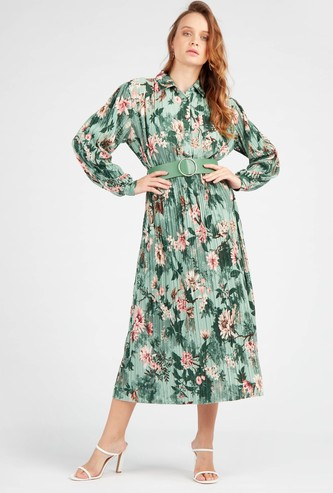 Printed Midi Shirt Dress with Long Sleeves and Button Front Closure